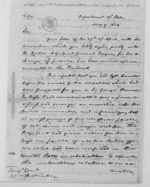 James Monroe to William H. Winder, May 9, 1814.