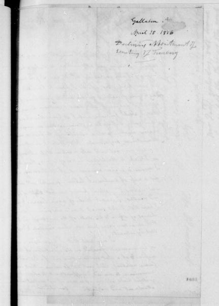 Albert Gallatin to James Madison, April 18, 1816. Includes transcription.