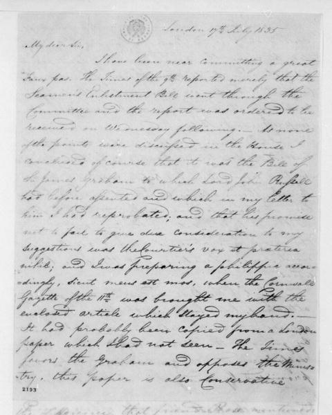 George Joy to James Madison, July 17, 1835. With Clipping & Bills.