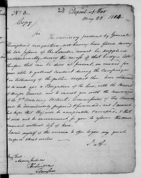 John Armstrong to Andrew Jackson, May 22, 1814. Copy.