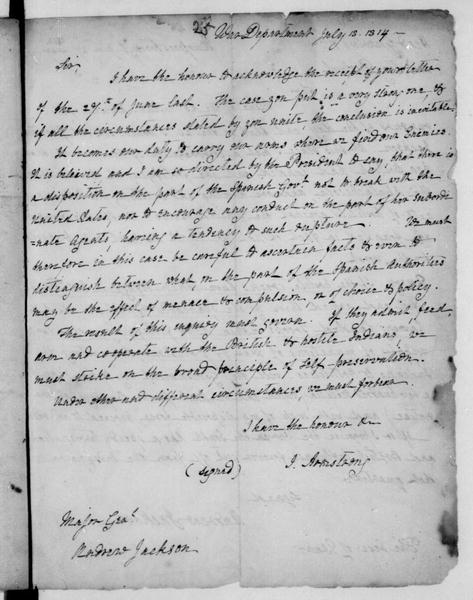 John Armstrong to Andrew Jackson, July 18, 1814. Copy.