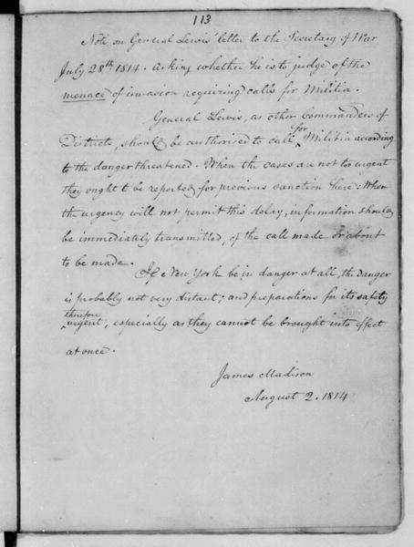 James Madison to John Armstrong, August 2, 1814. Notes on General Lewis' letter to John Armstrong.