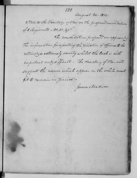 James Madison to John Armstrong, August 20, 1814.