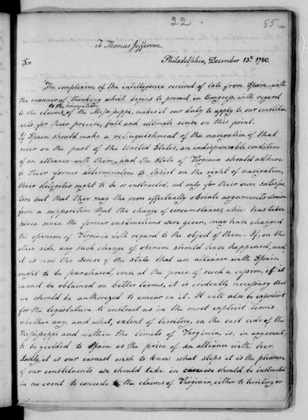 James Madison to Thomas Jefferson, December 13, 1780. Also signed by T. Bland.