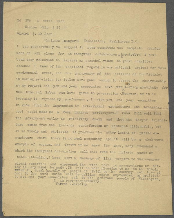 Express letter (?) from Warren G. Harding, Marion, Ohio, to Edward B. McLean, Chairman Inaugural Committee, ca. January 12, 1921.