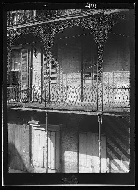 Balconies with wrought iron work, New Orleans