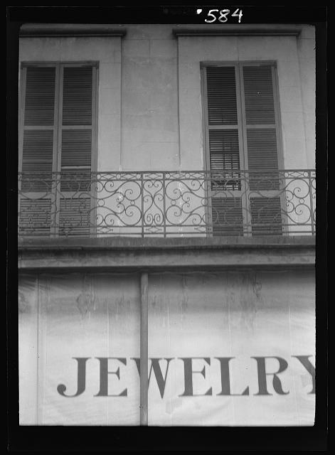 Balcony above a jewelry store on Royal Street, New Orleans