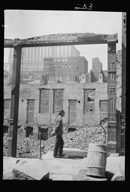 After the fire, 1906 (the Fairmount Hotel in the distance), Chinatown, San Francisco