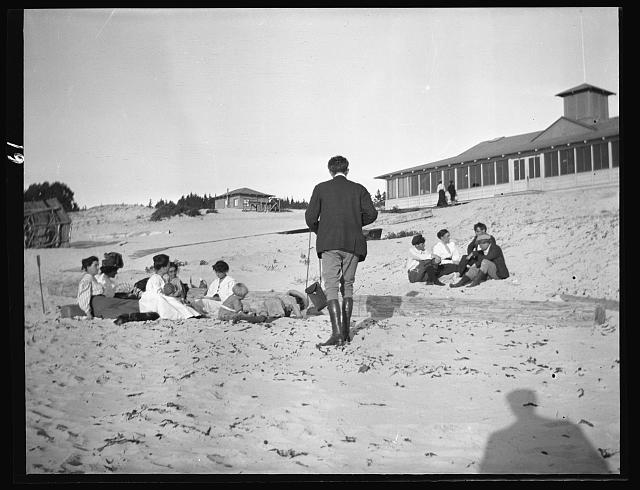 Arnold Genthe photographing George Sterling, Mary Austin, Jack London and Jimmie Hooper on the beach at Carmel,