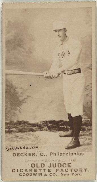 [Harry Decker, Philadelphia Quakers, Philadelphia Phillies, baseball card portrait]