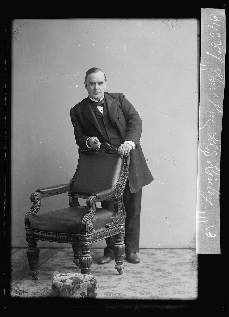 William McKinley photographed between 1873 and 1890, by Washington, D.C. photographer C. M. Bell. McKinley served in the U.S. House of Representatives from Ohio, 1876 to 1891; this was probably taken close to the start of his time in Congress. Library of Congress image.