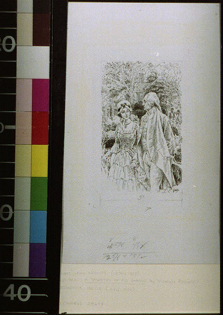 [Couple in Colonial attire in front of plantation house]