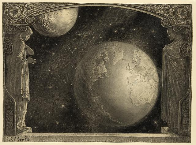 Two figures in classical attire framing a view of the earth and the moon.