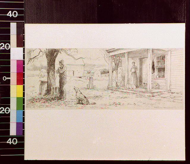 [Man leaning on rake beside a tree; woman standing on porch with pan in her hand]