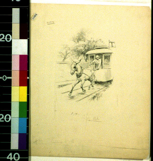 [Mule or donkey-drawn street car with initial T]