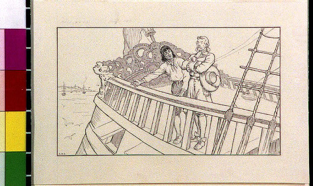 [Robinson Crusoe and Friday aboard ship]