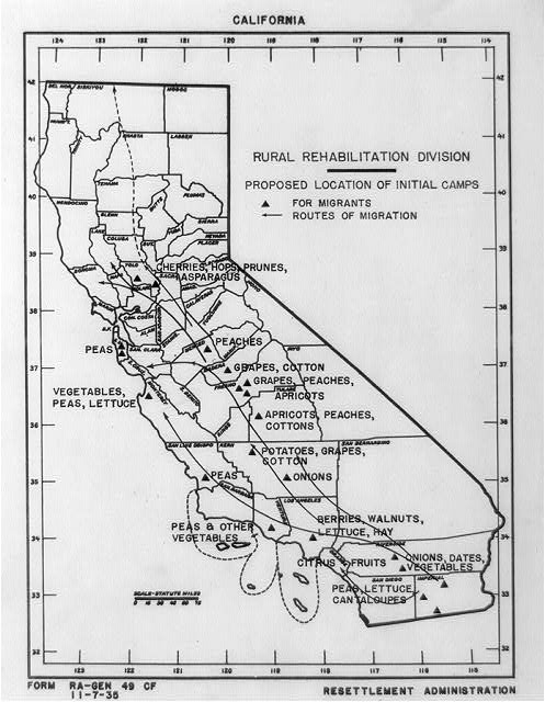 [Map of California by the Rural Rehabilitation Division showing areas where different crops are grown, proposed location of initial camps for migrants, and routes of migration]