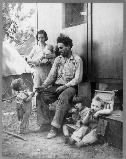 Texas tenant farmer in Marysville, California, migrant camp during the peach season. 1927 made seven thousand dollars in cotton. 1928 broke even. 1929 went in the hole. 1930 still deeper. 1931 lost everything. 1932 hit the road. 1935, fruit tramp in California