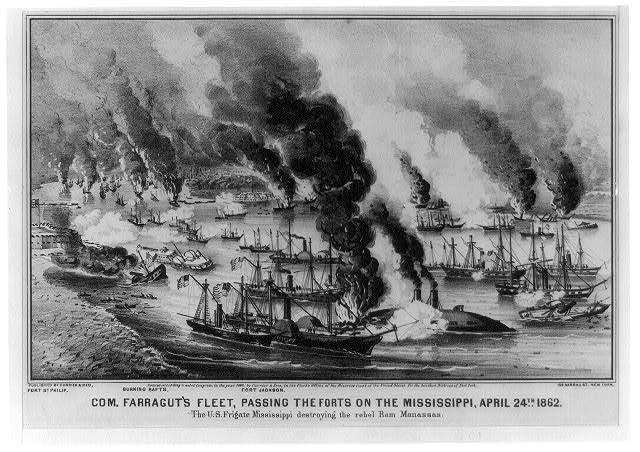 Com. Farragut's fleet, passing the forts on the Mississippi, April 24th 1862 The U.S. Frigate Mississippi destroying the rebel ram Manassas.