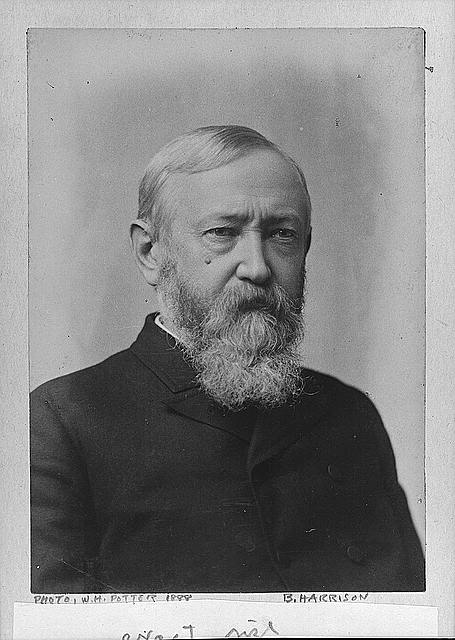 [Benjamin Harrison, head-and-shoulders portrait, facing right]