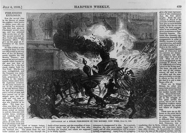 Explosion of a steam fire-engine in the Bowery, New York, June 18, 1868