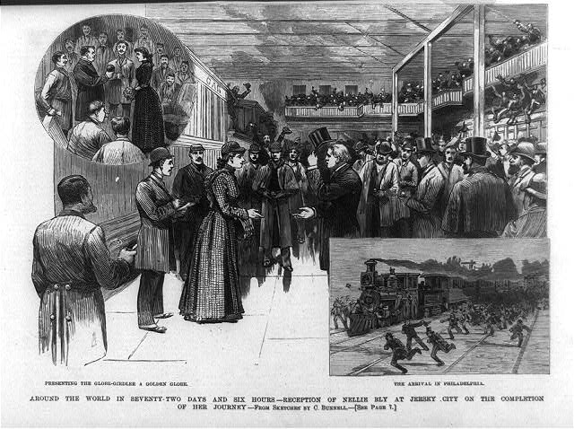 Around the world in seventy-two days and six hours - reception of Nellie Bly at Jersey City on the completion of her journey