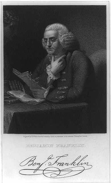 Benjamin Franklin engraved by T.B. Welch from the portrait by Martin in the possession of the American Philosophical Society.