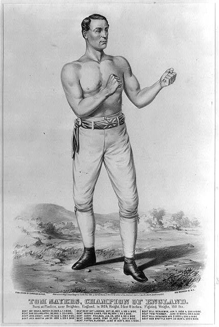 Tom Sayers, champion of England: born at Pimlico, near Brighton, England, in 1826, height 5 feet 8 inches, fighting weight, 150 lbs.