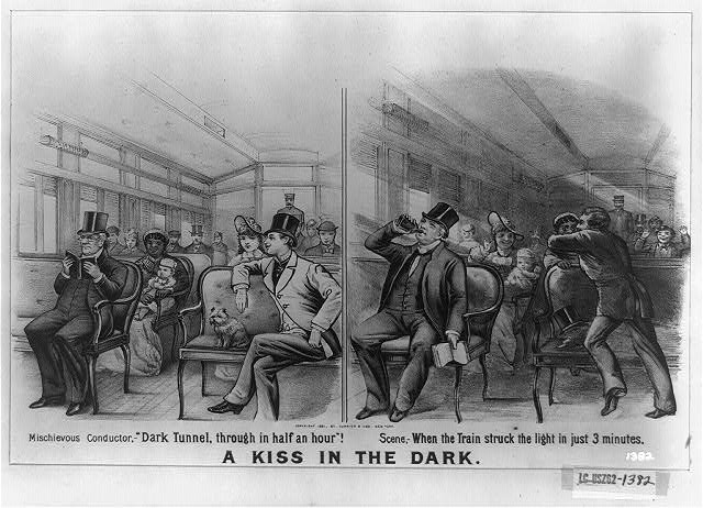 "A kiss in the dark: mischievous conductor,--""dark tunnel, through in half an hour!"" scene,--when the train struck the light in just 3 minutes"