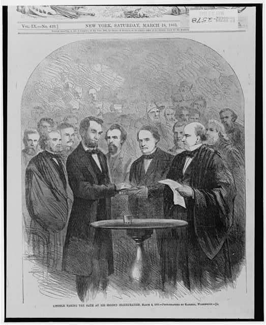 Lincoln taking the oath at his second inauguration, March 4, 1865