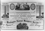 Blank certificate for donors to the Washington National Monument Society, Washington, D.C. (between 1835 and 1845)