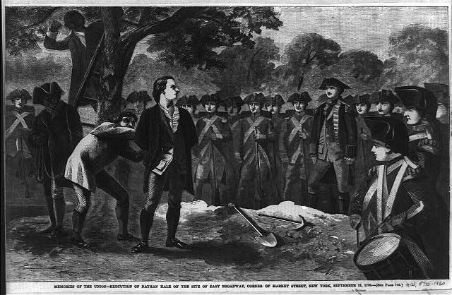 Memories of the Union - execution of Nathan Hale on the site of east Broadway, corner of Market Street, New York, September 21, 1776