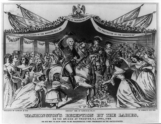 Washington's reception by the ladies, on the bridge at Trenton, N.J. April, 1789 on his way to New York to be inaugurated first President of the United States.