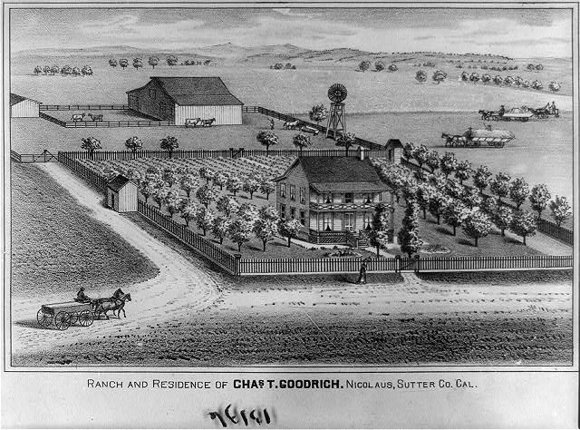Ranch and residence of Chas. T. Goodrich. Nicholas, Sutter Co. Cal.