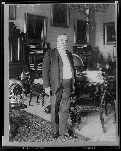[William McKinley, full-length portrait, standing, facing right]