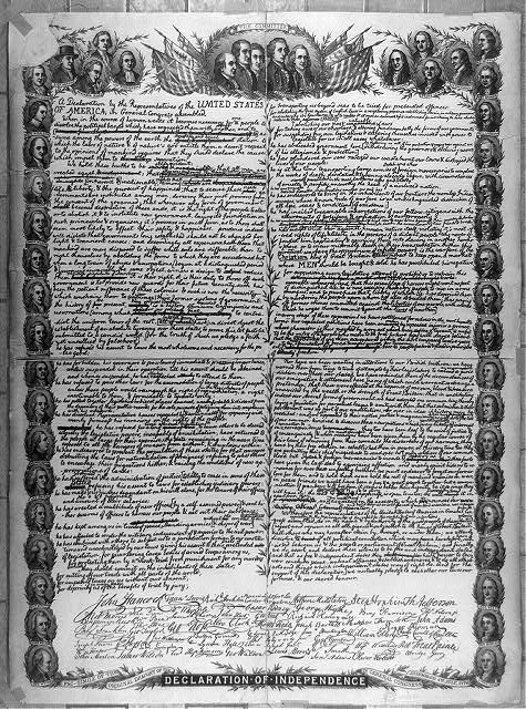 Fac-simile of the original draught of the Declaration of Independence in general Congress assembled 4th July, 1776