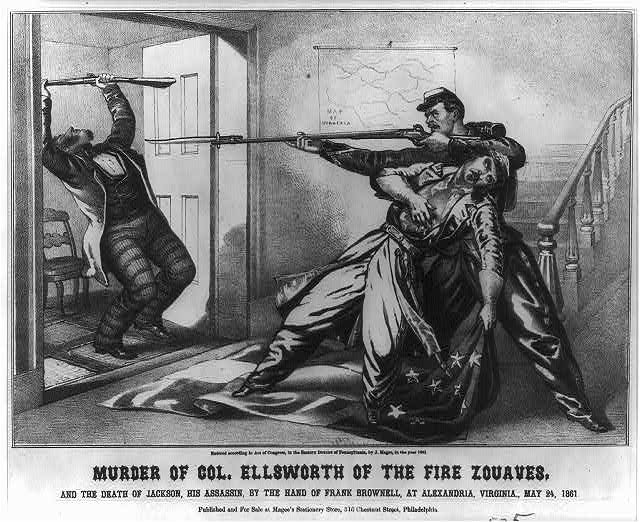 Murder of Col. Ellsworth of the fire Zouaves and the death of Jackson, his assassin, by the hand of Frank Brownell, at Alexandria, Virginia., May 24, 1861