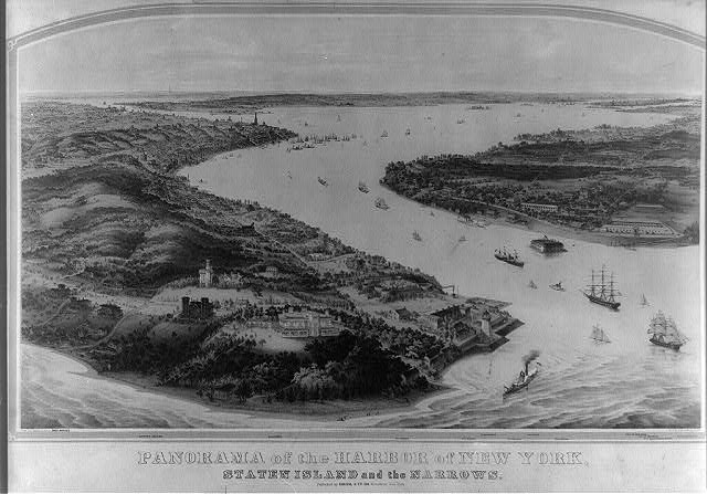 Panorama of the harbor of New York, Staten Island and the narrows