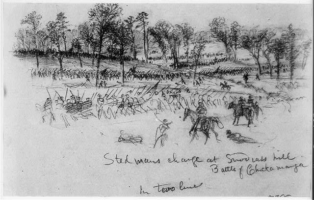 Ste[e]dmans charge at Snod[g]rass hill--Battle of Chickamauga