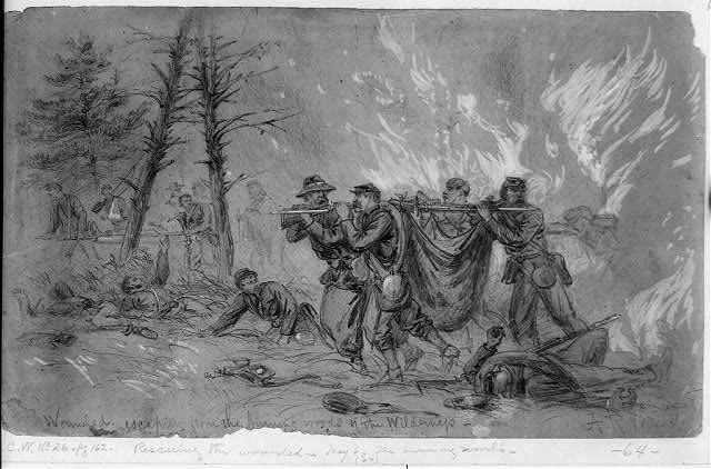 Wounded escaping from the burning woods of the Wilderness