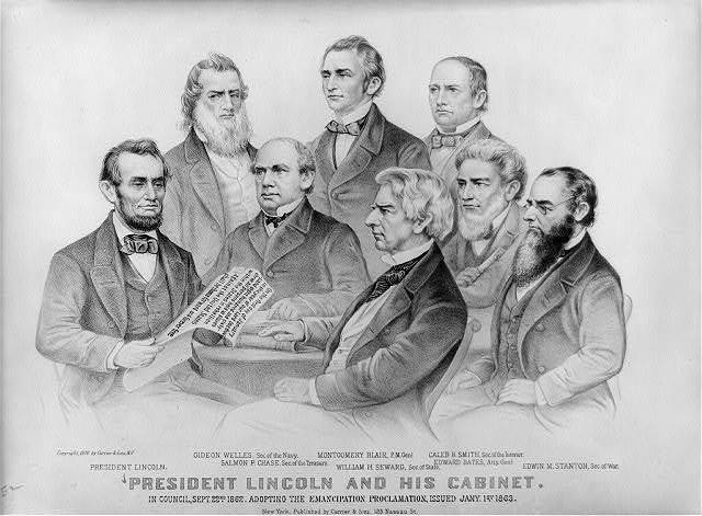 President Lincoln and his cabinet: in council, Sept. 22nd 1862. adopting the Emancipation Proclamation, issued Jany. 1st 1863
