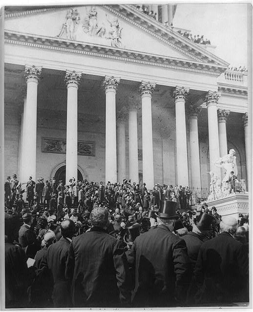 President McKinley and Admiral Dewey coming down the Capitol steps