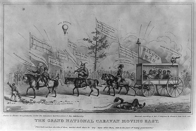 The grand national caravan moving east.