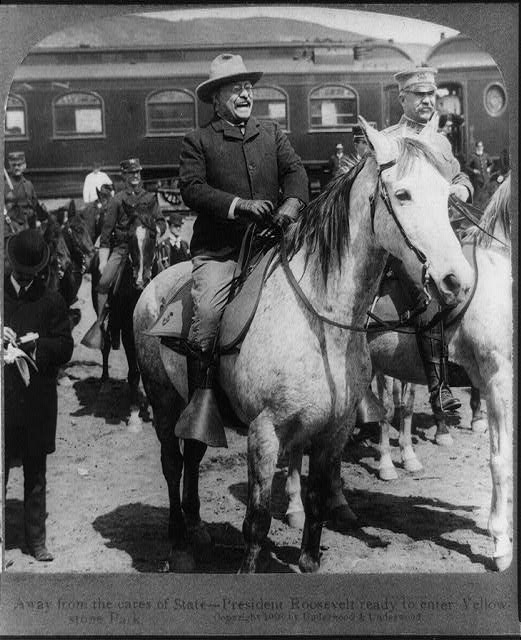 Away from the cares of state - President Roosevelt ready to enter Yellowstone Park