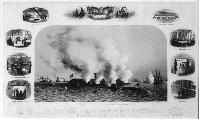 The first naval conflict between iron clad vessels. In Hampton Roads, March 9th. 1862