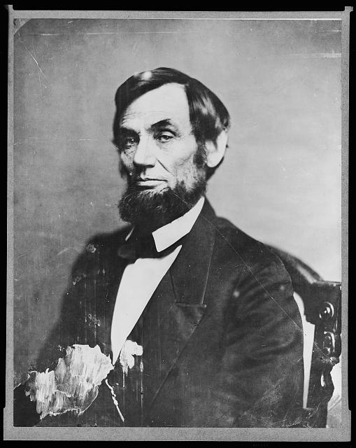 [Abraham Lincoln, head-and-shoulders portrait, facing left]