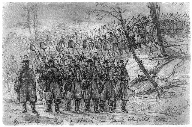 Going to the trenches--a sketch in Camp Winfield Scott. Before Yorktown