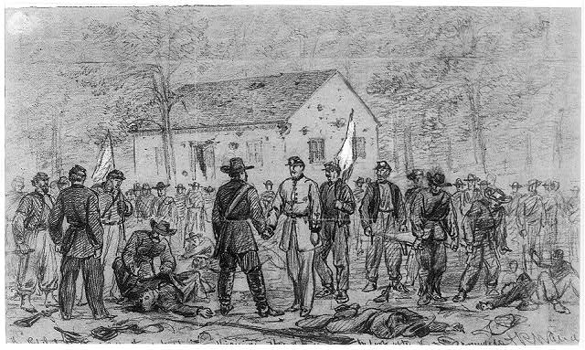 The rebel dodge to cover the retreat into Virginia. Flag of truce to look after the wounded