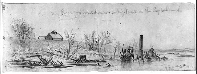 Remains of burnt steamers & sailing vessels on the Rappahanock [sic]