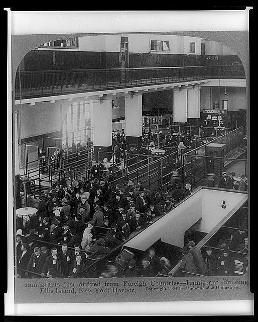 Immigrants just arrived from Foreign Countries--Immigrant Building, Ellis Island, New York Harbor